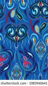 Elegant chic boho peackock stylish floral pattern. Eastern fabric design