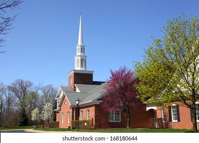 Elegant Church building in spring time
