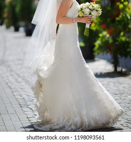 Elegant and classy bride posing at street