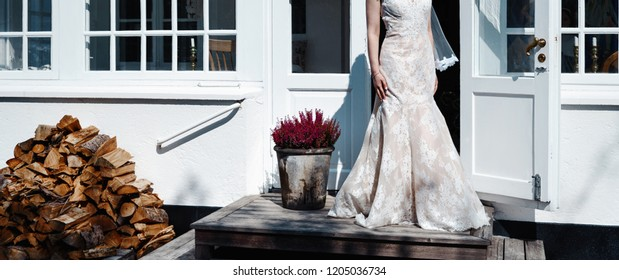 Elegant and classy wedding dress, bride is posing