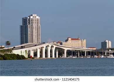 The elegant Clearwater Memorial Causeway Bridge in Clearwater, Florida, a four lane road between downtown Clearwater and Clearwater Beach that includes a fixed-span bridge across the Intracoastal Wate