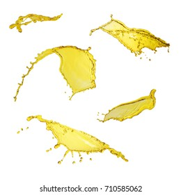 Elegant collection of oil splashes yellow color isolated over white background