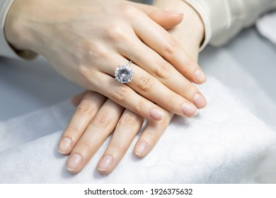 elegant colorless manicure in a beauty salon