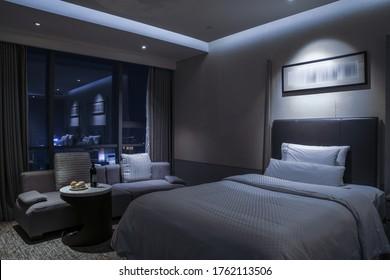 Elegant and comfortable home & hotel bedroom interior.Night sense.