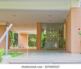 elegant contemporary apartment building entrance, Athens Greece