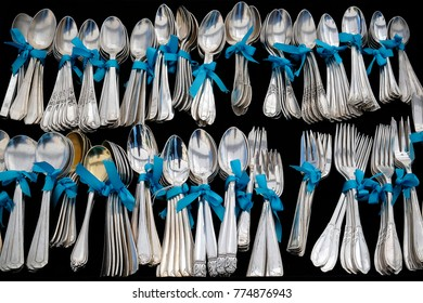 Elegant cutlery on black backgrond