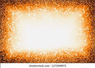 Elegant dark orange black glitter sparkle confetti background for happy birthday invite, Autumn Fall Thanksgiving frame, spooky Halloween party, sale border ad or October kid trick or treat night