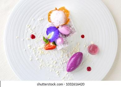 Elegant dessert in plate, molecular gastronomy, haute couture dessert
