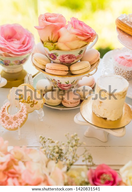 Elegant Dessert Table Decoration Spring Summer Stock Photo Edit