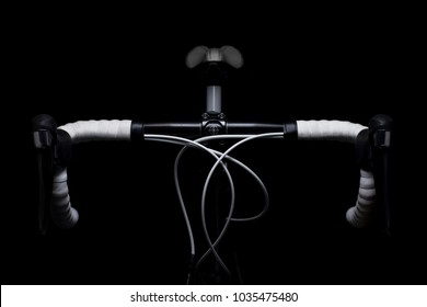 elegant detail of the handlebars of a racing bike