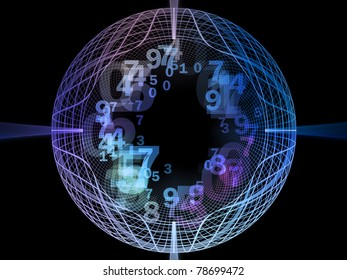 Elegant detailed grid lines and numbers rendered as background on the subject of science, technology, geometry and mathematics