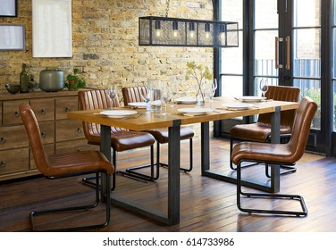 Elegant dining room interior. Dining room in luxury home. Kitchen, dining and living room of apartment