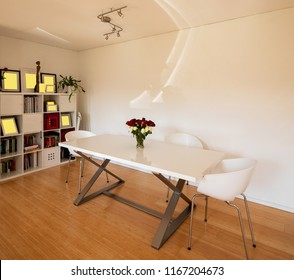 Elegant dining room in a modern apartment. Nobody inside