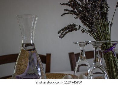 Elegant dining table setting at Provence style in a modern house