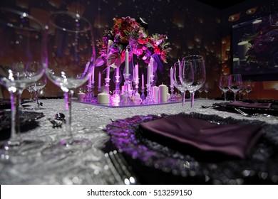 The elegant dinner table decoration