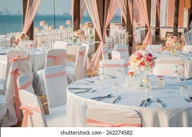 The elegant dinner table on the beach