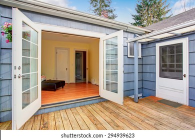 Elegant double glass doors leading to perfect back deck.
