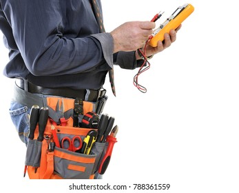 Elegant electrician technician with tester in hand isolated on white background.