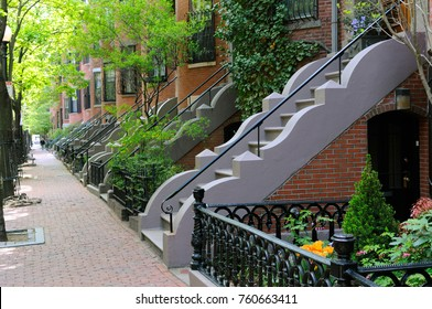 Elegant entry steps of Boston South End row houses