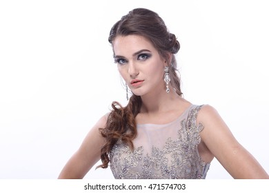 Elegant European Lady in Expensive Evening Gown with Crystal and sequins, half body with copy space for text
