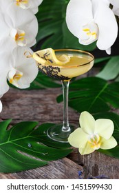 Elegant, exotic cocktail with lush fresh orchids