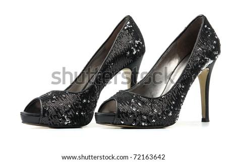 c436878675e9 Elegant expensive black high heel women shoes isolated on white background  - fetish female weapon