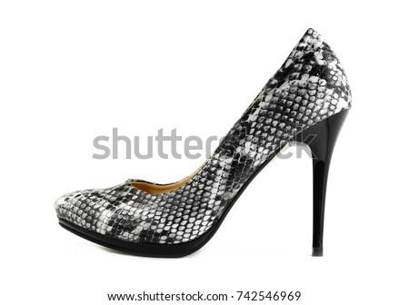 649c6c0618f2 Elegant expensive high heel women shoes. Fetish female weapon. Studio shot.  Isolated on