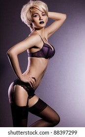 elegant fashionable woman in lingerie