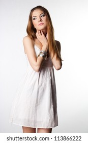 elegant fashionable woman in white cloth