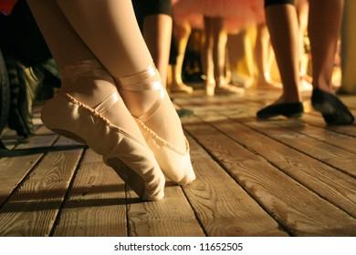 elegant feet of ballet-dancer