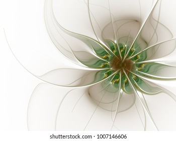 Elegant floral fractal design in soft graded pastel shades. Computer generated graphics. Abstract floral fractal background for art projects
