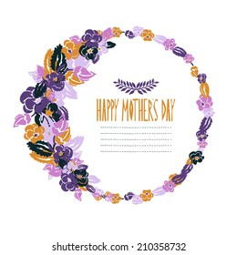 Elegant floral frame with pansy flowers, design element. Can be used for wedding, baby shower, mothers day, valentines day, birthday cards, invitations. Vintage decorative flowers.
