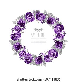 Elegant floral wreath, design element. Can be used for wedding, baby shower, mothers day, valentines day, birthday cards, invitations. Vintage decorative flowers