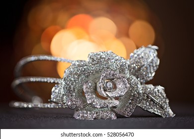 Elegant flower jewellery design of diamonds and silver