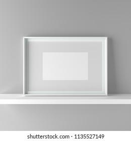Elegant frame stand on the shelf. 3D Graphic illustration render
