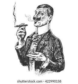 Elegant gentleman holding glass of beverage and cigar. Vintage engraving style. Victorian Era hand drawn illustration. Raster version