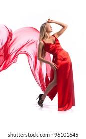 elegant girl flying a red dress on white background