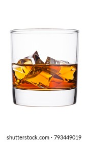 Elegant glass of whiskey with ice cubes isolated on white background