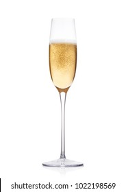 Elegant glass of yellow champagne with bubbles on white background with reflection