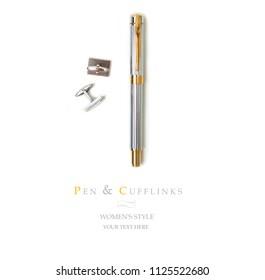 Eleganter, vergoldeter Businessbrunnen einzeln auf Weiß mit Beschneidungspfad. Stift im männlichen Stil mit Manschettenverbindungen. Draufsicht mit Platz für Text.