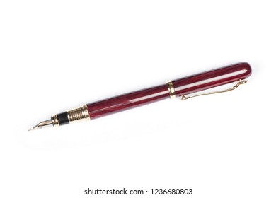 Elegant gold plated business fountain pen isolated on white