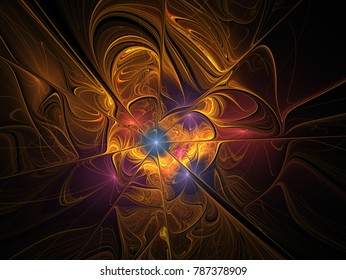 Elegant golden, extremely delicate and translucent flower composition with a silky surface. Abstract floral fractal background for art projects