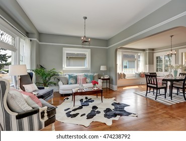 Elegant gray living room with nice interior design. Decorated with colorful pillows and cowhide rug. Northwest, USA