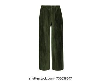 Elegant green designer ladies wide leg pants top isolated on white background