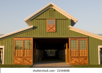 Elegant green farm barn office