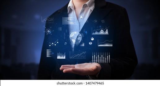 Elegant hand  global charts, international business concept