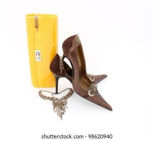 Elegant handbag ,shiny jewelry and shoes for women