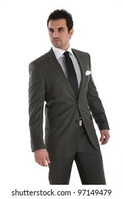 Elegant handsome man on white background