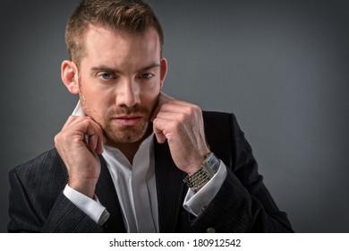 Elegant handsome man wearing suit