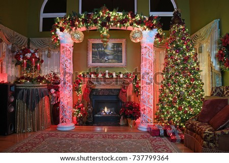 Elegant home with Christmas decorations and tree